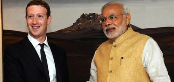 Mark Zuckerberg with Narendra Modi