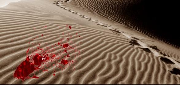Sangre sobre la arena del desierto
