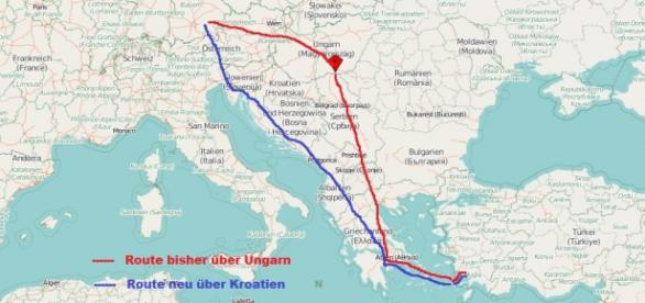 Flüchtlingsrouten Bild: Mamba /Openstreetmap