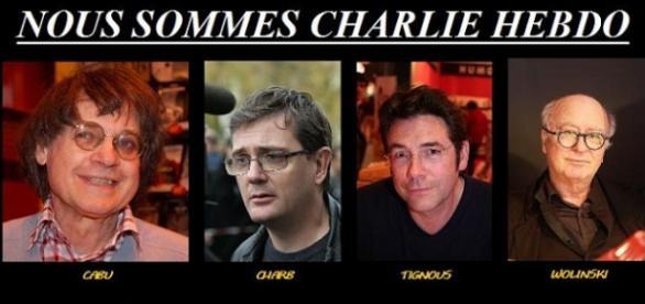 Los cuatro dibujantes de CH asesinados en enero.