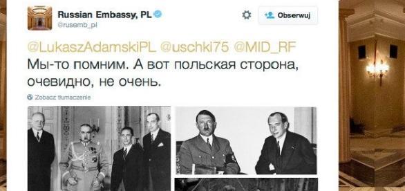 Wpis rosyjskiej ambasady kpiący z Polski.