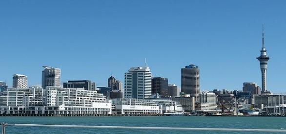 A moderna cidade de Auckland, na Nova Zelândia.