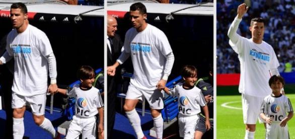 Cristiano Ronaldo ajuda criança refugiada