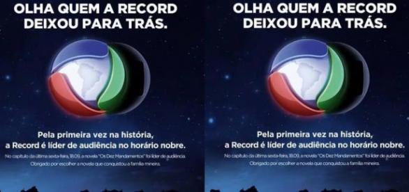 Os Dez Mandamentos vence e Record sacaneia a Globo