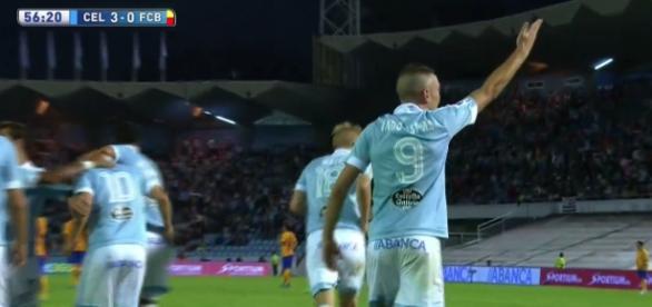 Iago Aspas celebrando su segundo gol