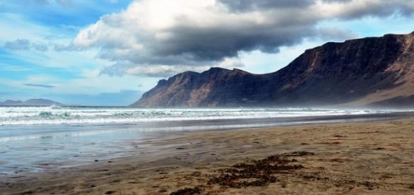 Playa Famara en Lanzarote, Canarias