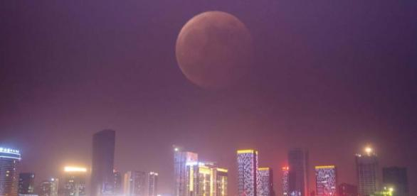 A pic of blood moon in the city lights.