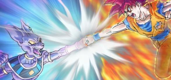 Bills luchando contra Goku en el capitulo 12