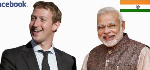 Mark Zuckerberg with Narendra Modi