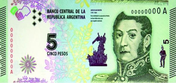 San Martín en el nuevo billete de 5 pesos