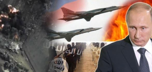 Atak rosyjskiego bombowca na bazę ISIS.