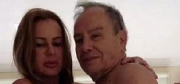 Stênio Garcia e sua esposa em foto íntima