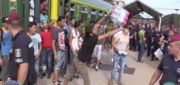 Imigranții din Ungaria aruncă apa și alimentele