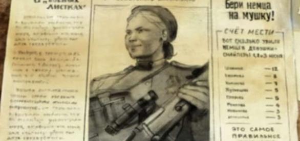 Roza Shanina pe prima pagină a unui ziar de război