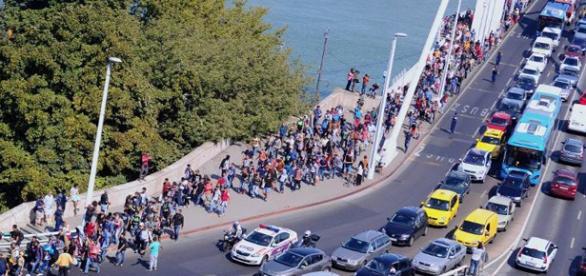 Inmigrantes entre Alemania y Austria.