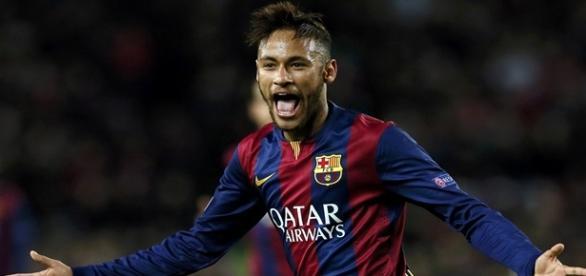 Neymar comemora gol pelo Barcelona