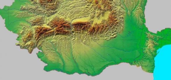 ROMÂNIA - Harta fizico-geografică