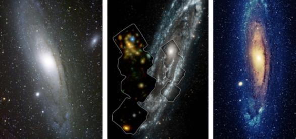 La galaxia de Andrómeda con diferentes filtros.
