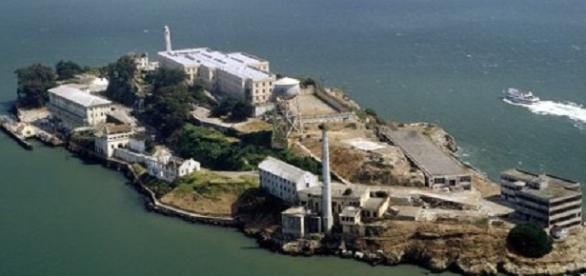 Vista aérea de la isla de Alcatraz.