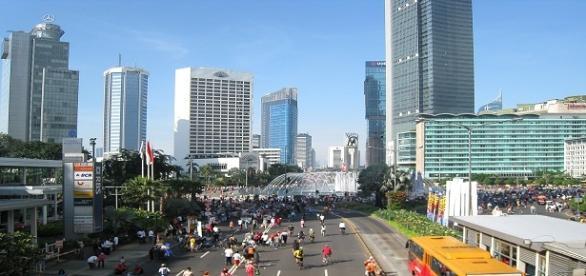 El centro de Yakarta durante un día sin coches