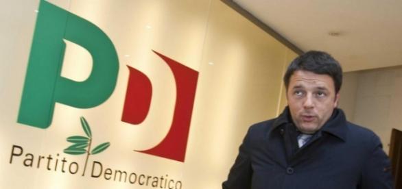 Renzi nella sede del Partito democratico