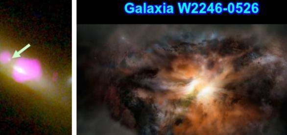Galaxia W2246-0526, la mas brillante del universo