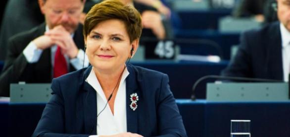 Premier Beata Szydło w trakcie debaty