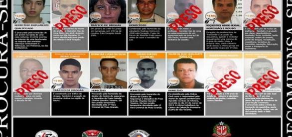 10 bandidos mais procurados de São Paulo