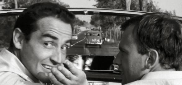 """Gassman y Trintignant en """"La escapada"""", 1962"""