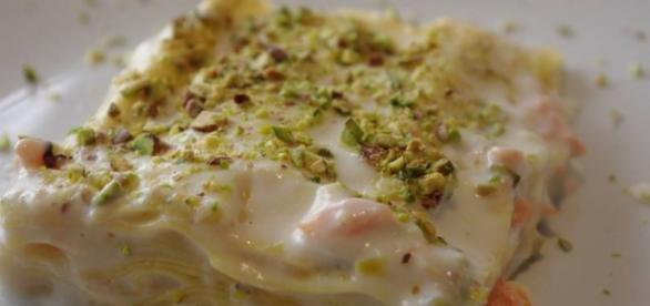lasagne al pistacchio e salmone