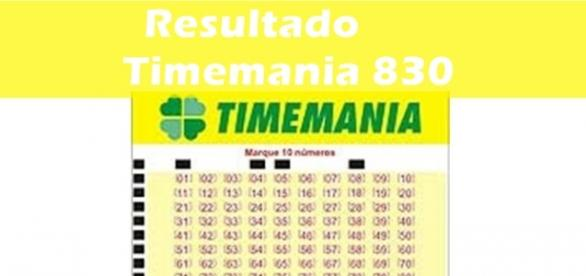 Resultado do jogo Timemania 830