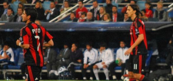 Alexandre Pato en el AC Milán, junto a Ibrahimovic