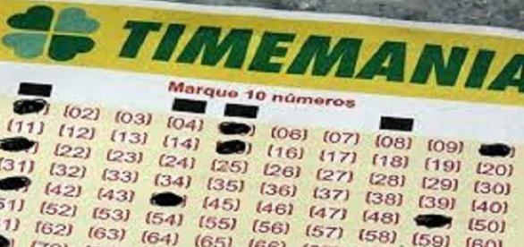 Resultado dos números da timemania