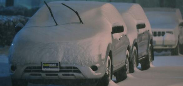Carros congelados devido à tempestade