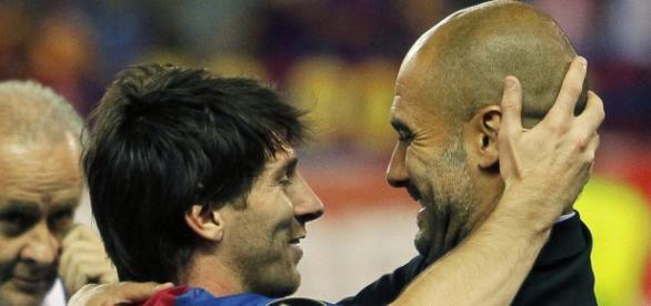 Leo Messi y Guardiola, juntos en el FC Barcelona