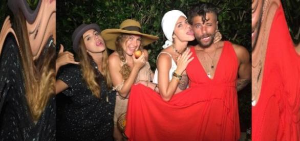 Bruno Gagliasso usa vestido da esposa em festa