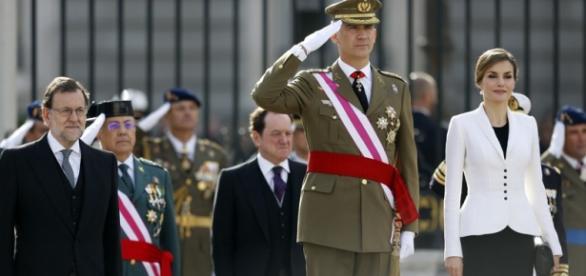 El Rey Felipe VI y la Reina antes del discurso