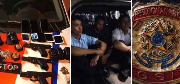 Distintivos, celulares e armas apreendidos com militares do Exército suspeitos de roubo em Ceilândia
