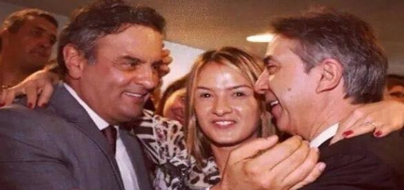 Aécio Neves, o prefeito eleito Rubens e sua filha, Bruna Furlan (Foto: Reprodução)