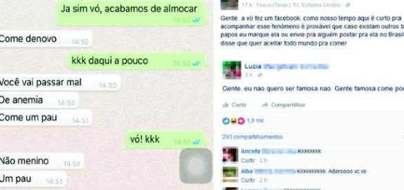 Conversa entre avó e neto pelo WhatsApp, é vítima do corretor ortográfico do celular