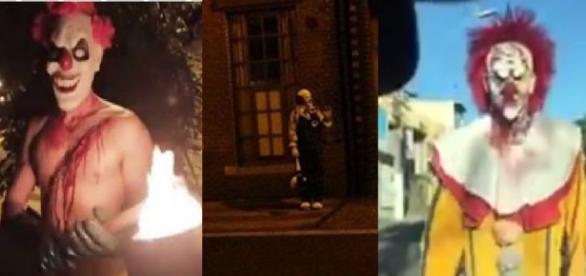 Palhaços aterrorizam pessoas nas ruas