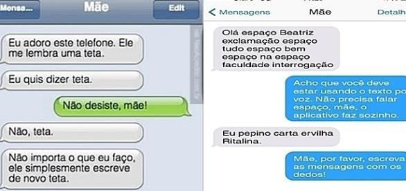 Algumas imagens de pessoas tentando enviar mensagens de texto