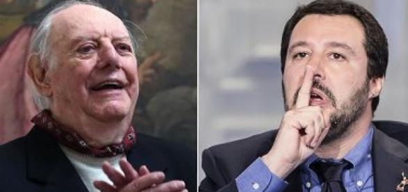 A sinistra il Nobel per la letteratura Dario Fo e, a destra, il leader leghista Matteo Salvini