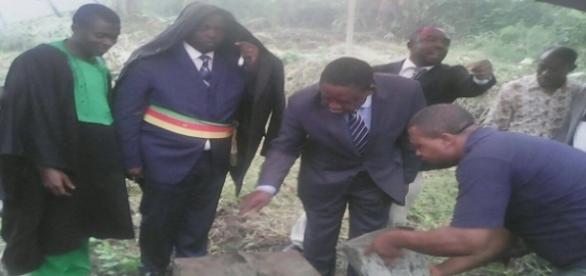 credit: cameroonintelligencereport.com Mayor Ekema looks on during lying of foundation stone of halted mortuary