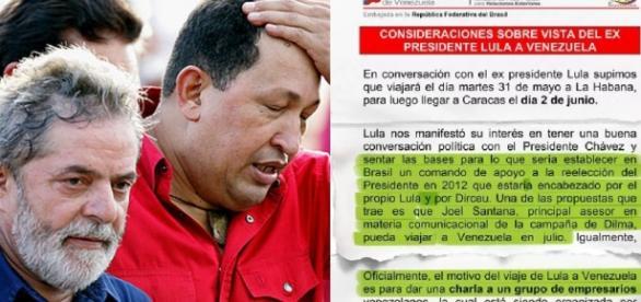 Lula, Chavez e o telegrama - Foto/Montagem