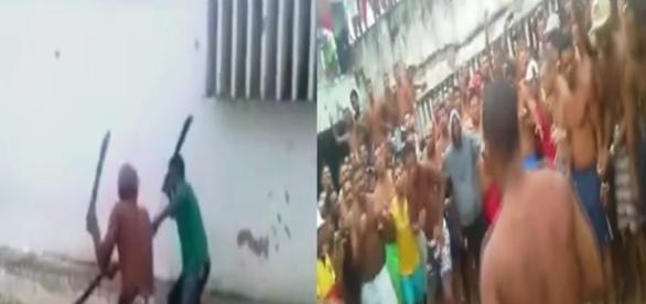 As imagens gravadas pelos próprios presos através de celulares mostram as lutas.