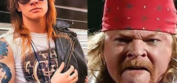 Axel Rose anos atrás e hoje em dia