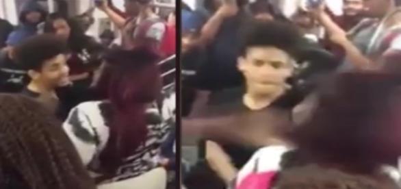 Na primeira cena o rapaz aparece discutindo com a moça, já na segunda imagem é possível ver o momento em que ele a agride.
