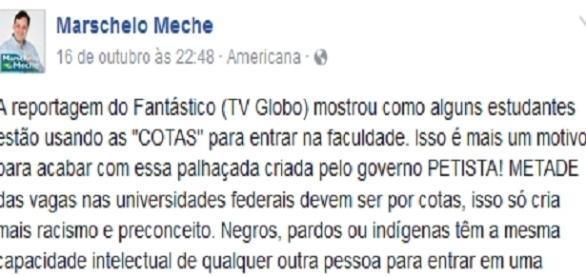 Afirmação equivocada do vereador recém-eleito, Marschelo Meche