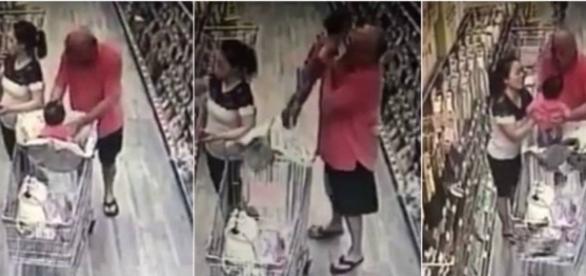 As imagens mostram o momento em que o bandido tenta levar a criança e é impedido pela mãe